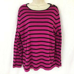 LRL Ralph Lauren 2X striped knit top purple black